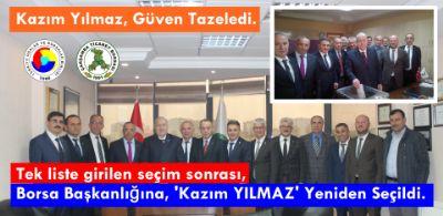 """"""" Borsa Başkanlığına, Kazım YILMAZ Yeniden Seçildi """" ."""