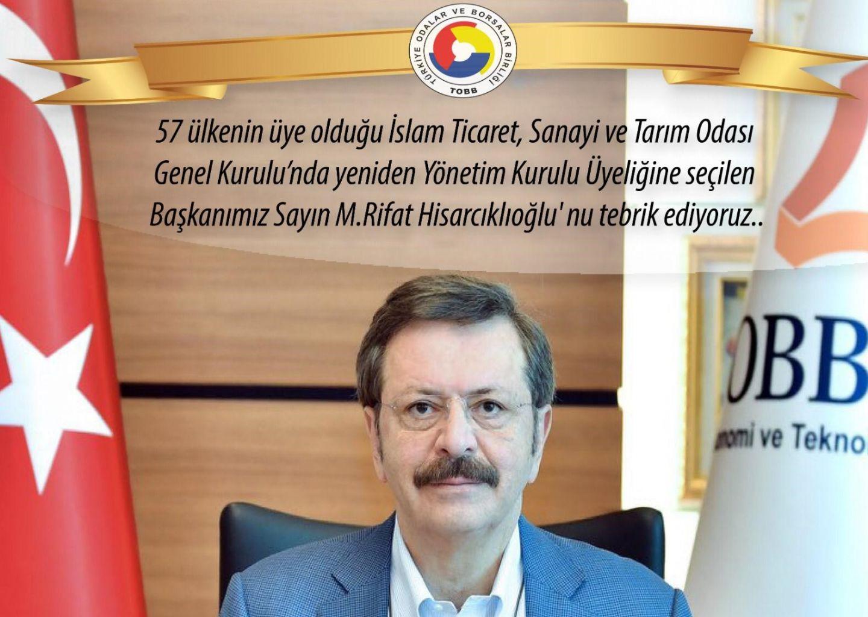 Tobb Başkanı Rifat Hisarcıklıoğlu'na Tebrik Mesajı