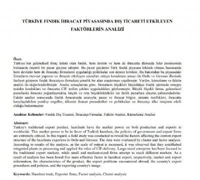 Türkiye Fındık İhracat Piyasasında Dış Ticareti Etkileyen Faktörlerin Analizi